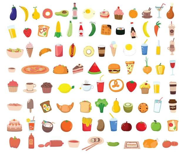 Duży zestaw ikon żywności, płaski. owoce, warzywa, mięso, chleb, fast food, słodycze. posiłek ikona na białym tle. kolekcja składników