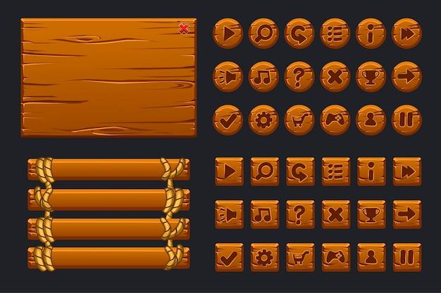 Duży zestaw interfejsu użytkownika gry. szablon drewniane menu graficznego interfejsu użytkownika