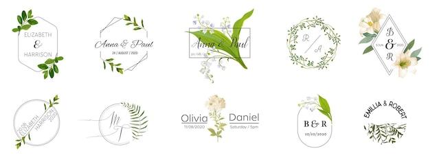 Duży zestaw kolekcji logo monogram ślubny, ręcznie rysowane akwarela rustykalne i kwiatowe szablony dla zaproszeń, zapisz datę, elegancka tożsamość dla restauracji, butiku, kawiarni w wektorze