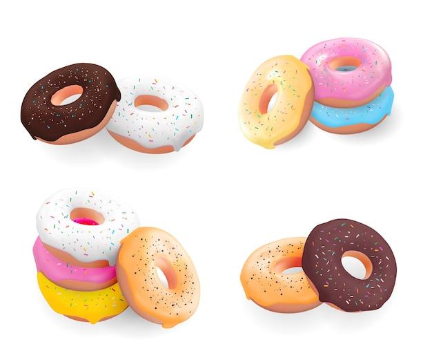 Duży zestaw kolekcji realistycznych 3d słodkich smacznych pączków z różnymi kolorami lukru na białym tle