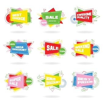 Duży zestaw kolorowe abstrakcyjne etykiety czatu. wektorowe banery rabatowe i promocyjne