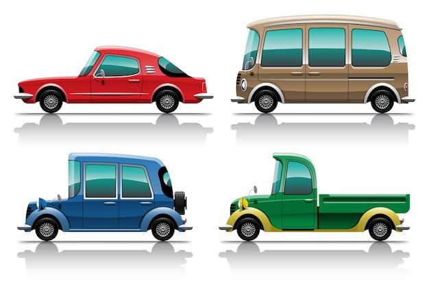 Duży zestaw kolorowych clipartów na białym tle pojazdu, płaskie ilustracje różnych typów samochodów.