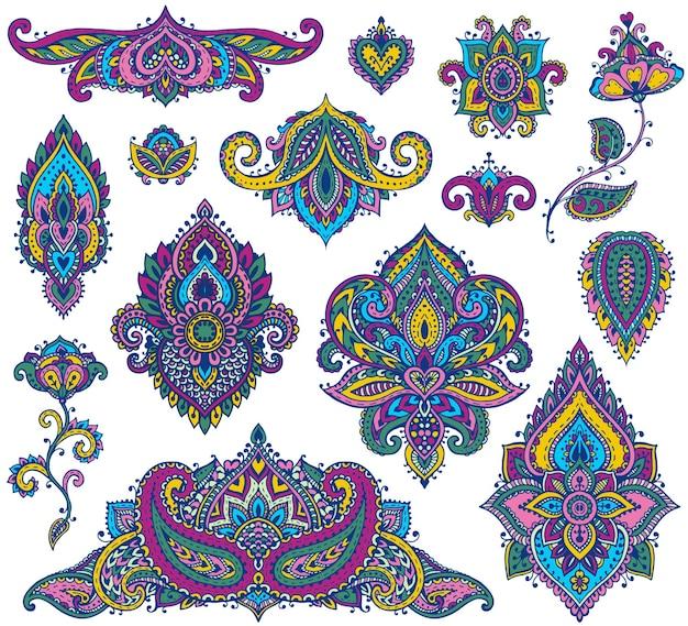 Duży zestaw kolorowych elementów kwiatowych henny opartych na tradycyjnych azjatyckich ornamentach.