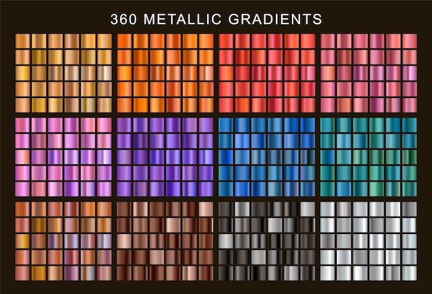 Duży zestaw kolorowych metalicznych gradientów.