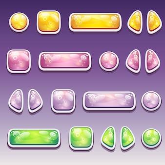 Duży zestaw kolorowych przycisków kreskówek o różnych kształtach dla interfejsu użytkownika i projektowania stron internetowych