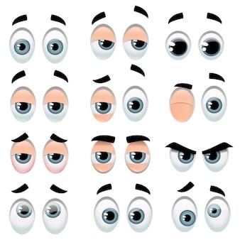 Duży zestaw kreskówkowych oczu reprezentujących różne wyrażenia