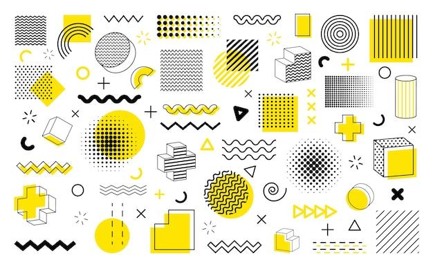Duży zestaw kształtów geometrycznych. kolekcja kształtów geometrycznych w stylu memphis.