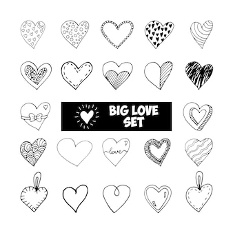 Duży zestaw ładny doodle miłość serca ikony. ręcznie rysowane ilustracji wektorowych. słodki element na kartki okolicznościowe, plakaty, naklejki i sezonowy projekt. na białym tle