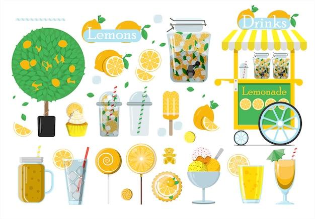 Duży zestaw lemoniady wektorowej płaska ilustracja zestaw wszystkich rodzajów i produktów z cytryny
