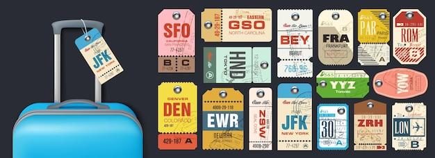 Duży zestaw lub retro etykiety na bagaż podróżny, przywieszki lotnicze i bilety bagażowe