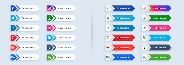 Duży zestaw mediów społecznościowych niższy trzeci