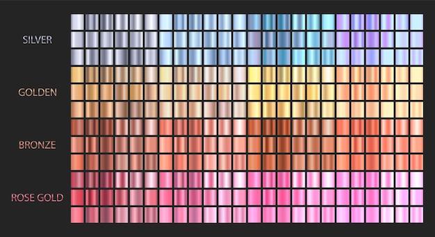 Duży zestaw metalicznych gradientów. kolekcja kolorów gradientu.