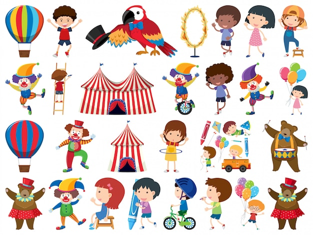 Duży zestaw na białym tle elementów dla dzieci i cyrku