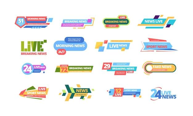 Duży zestaw nagłówków wiadomości. nagłówek telewizyjny plakat media online informacje kolorowy pasek codzienna transmisja poranne wiadomości najświeższe informacje sportowe najnowsze transmisje strumieniowe cyfrowe w ciągu dnia.