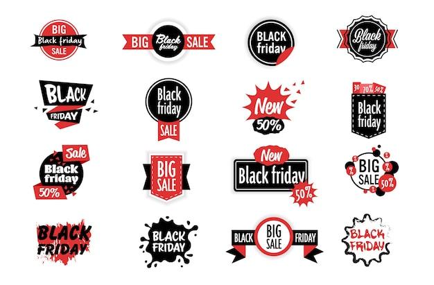 Duży zestaw naklejek wyprzedaży czarny piątek oferta specjalna wyprzedaż promocja marketingowe zakupy świąteczne