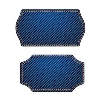 Duży zestaw niebieskich etykiet