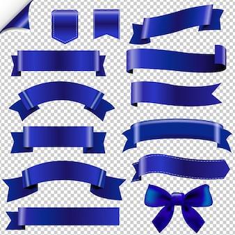 Duży zestaw niebieskich wstążek