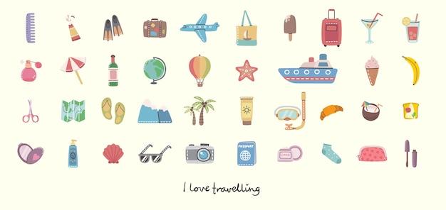 Duży zestaw obiektów i ikon związanych z podróżami i wakacjami letnimi.