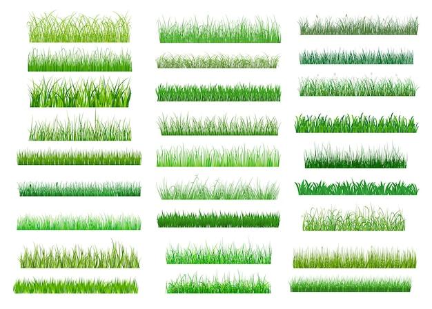 Duży zestaw obrzeży świeżej zielonej wiosennej trawy w różnych odcieniach zieleni, długości i gęstości do wykorzystania jako elementy projektu na białym tle