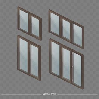 Duży zestaw okien metalowo-plastikowych z przezroczystymi szkłami w 3d. nowoczesne okno w realistycznym stylu. izometria, ilustracji wektorowych.