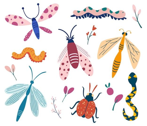 Duży zestaw owadów doodle beetle motyl ćma robak ważka wąż kolekcja owadów