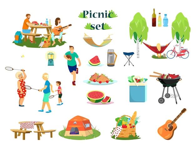 Duży zestaw piknikowy. styl kreskówki.