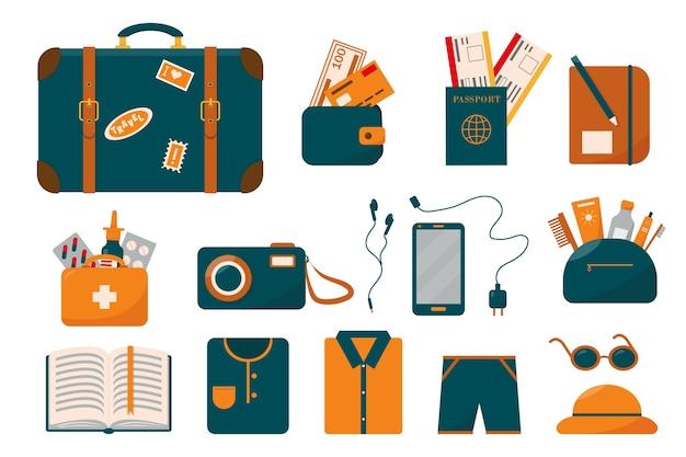 Duży zestaw podróżny lub kolekcja bagażu z walizką i rzeczami na wakacje.