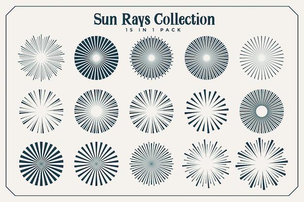 Duży zestaw promieni słonecznych i promieni w wielu stylach