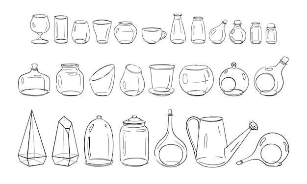 Duży zestaw przedmiotów szklanych, kieliszki, słoiki, butelki, akwaria, kolby, przedmioty gospodarstwa domowego wektor