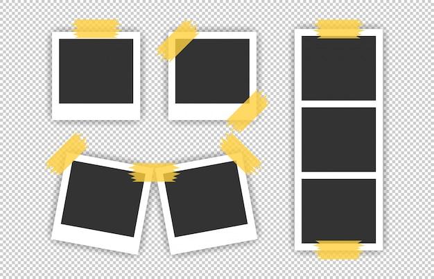 Duży zestaw realistyczne zdjęcie ramki ikona na przezroczystym tle.
