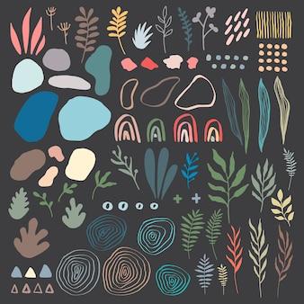 Duży zestaw ręcznie rysowane różne kolorowe kształty i doodle obiektów. abstrakcyjne kształty i elementy. memphis styl vintage na tle. pastelowe kolory nowoczesna forma banerów, zestaw wektorów do druku tekstylnego.
