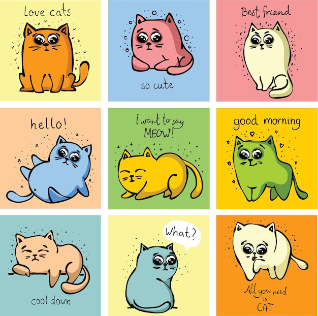 Duży zestaw ręcznie rysowane wektor słodkie śmieszne koty do projektowania kart okolicznościowych, t-shirt druk, plakat inspiracji.