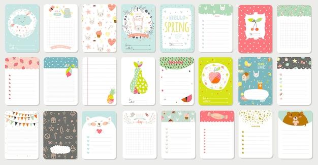 Duży zestaw romantycznych i uroczych kart, notatek, naklejek, etykiet, metek z ilustracjami wiosennymi i życzeniami. szablon do rezerwacji złomu pozdrowienia, gratulacje, zaproszenia. pionowy projekt karty