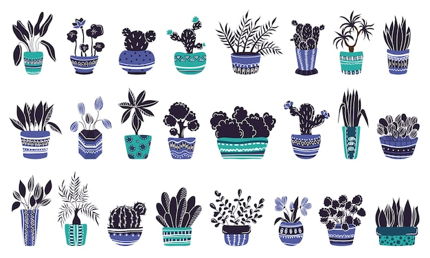 Duży zestaw roślin doniczkowych lub kwiatów w doniczkach