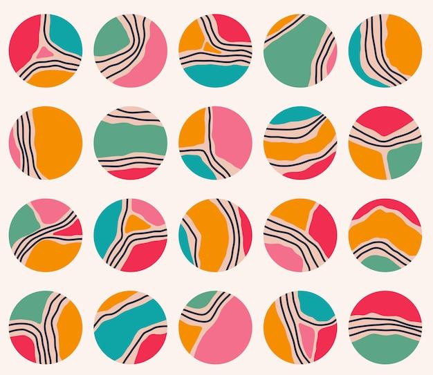 Duży zestaw różnych geometrycznych okładek o różnych kształtach różne kształty, linie, plamy, kropki