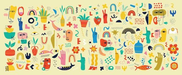 Duży zestaw różnych kolorowych ilustracji wektorowych plakaty w kreskówka płaska konstrukcja. ręcznie rysowane abstrakcyjne kształty, śmieszne postacie z komiksów.