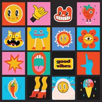 Duży zestaw różnych kolorowych ilustracji wektorowych plakaty w kreskówka płaska konstrukcja. ręcznie rysowane abstrakcyjne kształty, zabawne słodkie postacie z komiksów.