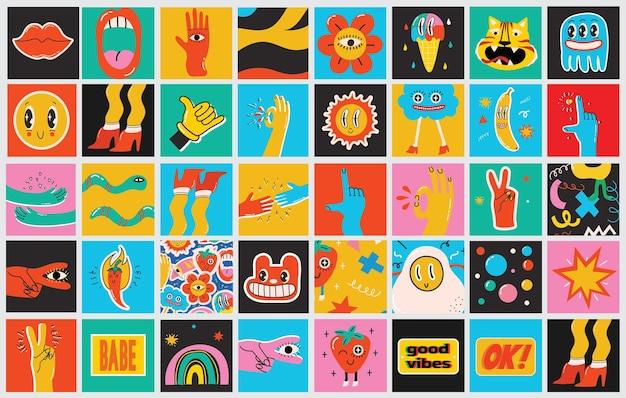 Duży zestaw różnych kolorowych ilustracji wektorowych plakaty w kreskówka płaska konstrukcja. ręcznie rysowane abstrakcyjne kształty, zabawne, słodkie postacie z komiksów.