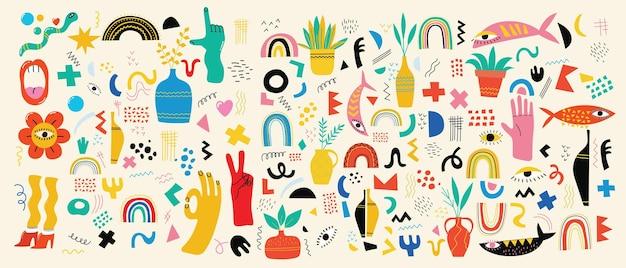 Duży zestaw różnych kolorowych ilustracji wektorowych w kreskówka płaska konstrukcja. ręcznie rysowane abstrakcyjne kształty, śmieszne postacie z komiksów.