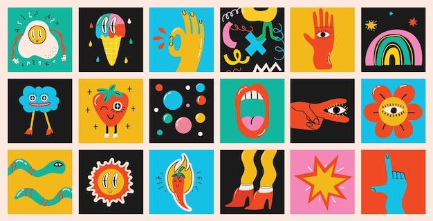 Duży zestaw różnych kolorowych ilustracji wektorowych w kreskówka płaska konstrukcja. ręcznie rysowane abstrakcyjne kształty, zabawne, słodkie postacie z komiksów.