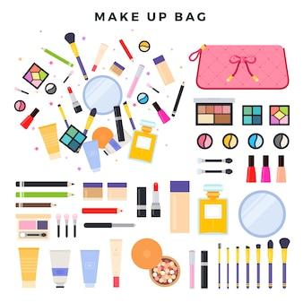 Duży zestaw różnych kosmetyków dekoracyjnych. zawartość kobiecej kosmetyczki. wszystko do makijażu