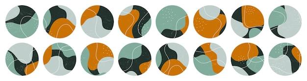 Duży zestaw różnych okładek instagram z abstrakcyjnymi kształtami
