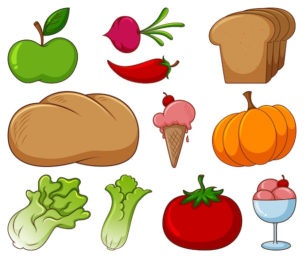 Duży zestaw różnych produktów spożywczych i innych przedmiotów na białym tle