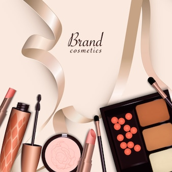 Duży zestaw różnych realistycznych opakowań na kosmetyki dekoracyjne.
