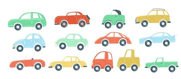 Duży zestaw samochodzików płaski prosty styl kreskówki rysunek wektor ilustracja