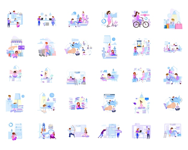 Duży zestaw scen biznesowych z postaciami w komunikacji w biurze iw domu.