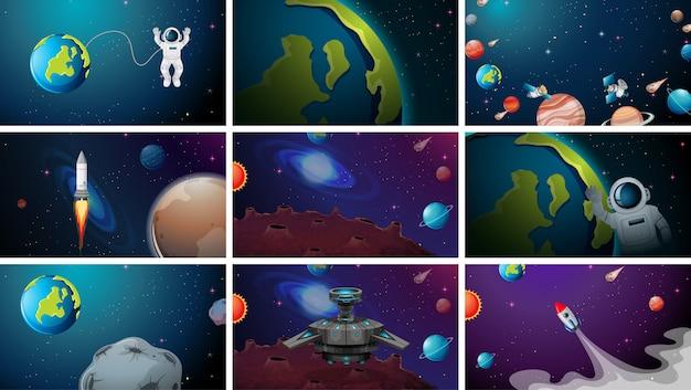 Duży zestaw scen kosmicznych