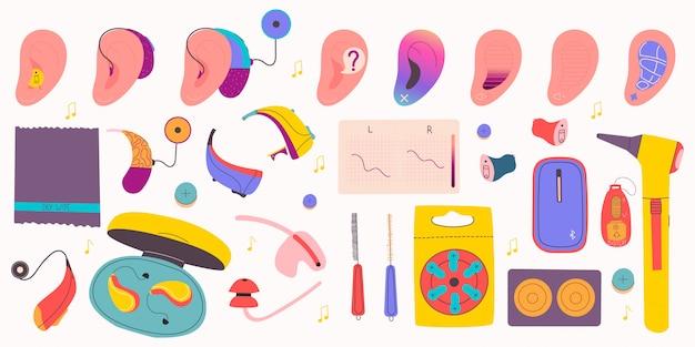 Duży zestaw specjalnych urządzeń dla osób z zaburzeniami słuchu. aparaty słuchowe, baterie, wkładki uszne itp.