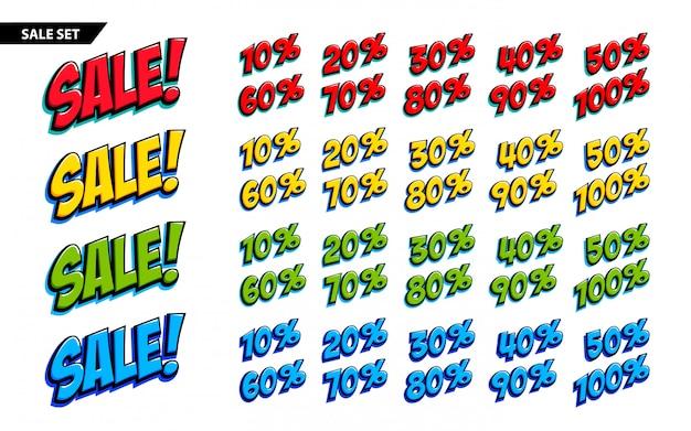 Duży zestaw sprzedaży czterokolorowy napis sprzedaż i znaki 10, 20, 30, 40, 50, 60, 70, 80, 90,100 procent