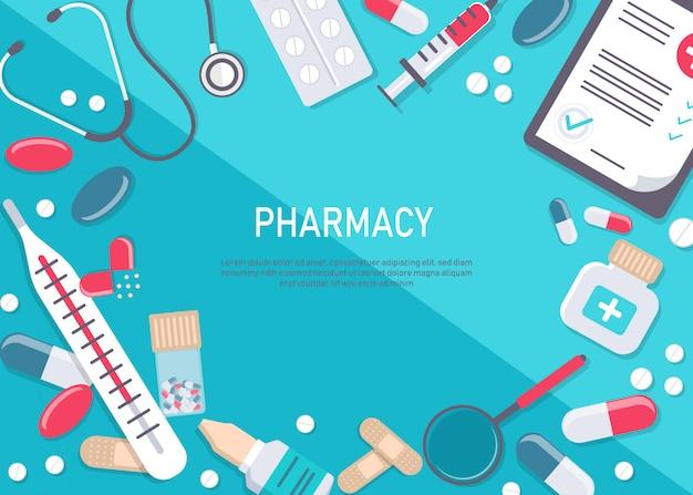 Duży zestaw sprzętu medycznego i apteki. kwadratowa rama apteki z pigułki, leki, butelki medyczne. płaskie ilustracja apteka. baner w medycynie i opiece zdrowotnej. ilustracja.